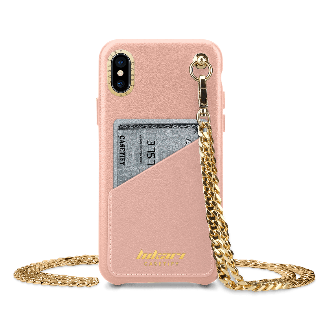 iPhone XS - Crossbody Leather Case - Metallic Nude 120