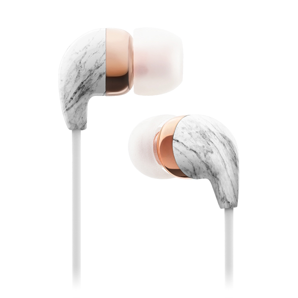 In Ear White Marble Rose Gold Earbuds With Remote And Mic