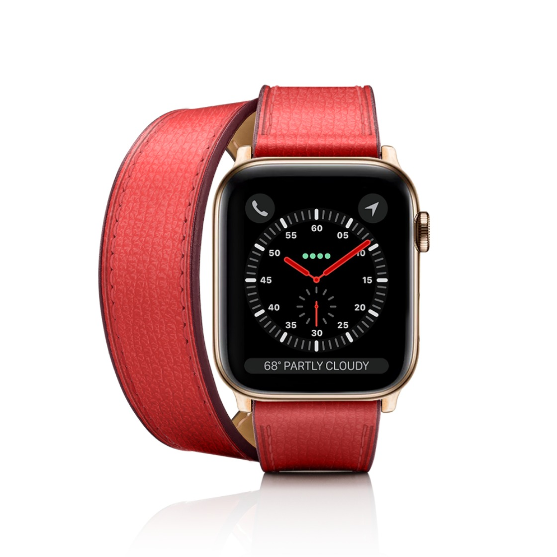 a4b6d84b4 2-in-1 Italian Leather Watch Band Kit - Red Double Tour + Single Strap