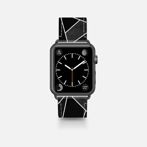 Geometric Black Stone - Casetify Saffiano Leather Apple Watch Band 38mm / 42mm